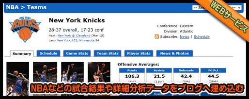 NBAなどの試合結果や詳細分析データをブログへ埋め込む