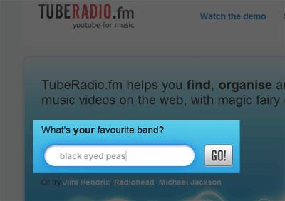 TubeRadio.fm のトップページで検索