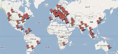 地図から都市を選べる