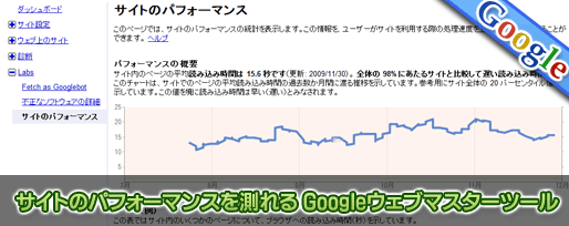 サイトのパフォーマンスを測れる Googleウェブマスターツール