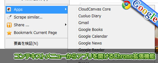 コンテキストメニューからアプリを開けるChrome拡張機能