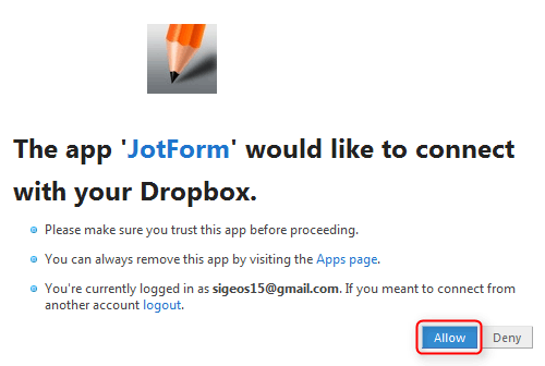 Dropboxとの連携2