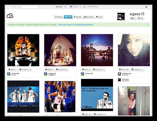InstagramをPinterestのようなUIで見られる「Instadash」Dropboxに自動保存も可能