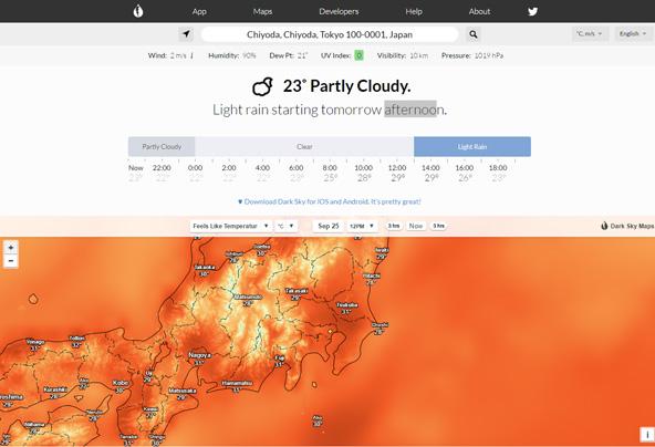 気温だけでなく、体感温度(Feels Like Temperature)という項目もあります。