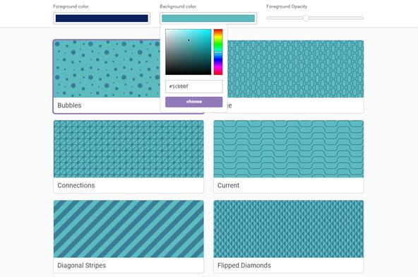 まずパターンの色と背景色、そしてパターンの透過度を指定します。