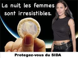 コンドームをつけないと危険なことを訴える広告