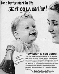 コーラを早いうちから与えようという広告