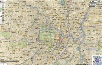 江戸地図と東京地図を重ねる