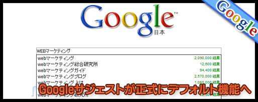 Google SuggestがGoogle検索のデフォルト機能に