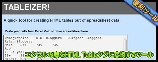 エクセルの表をHTML Tableタグに変換するツール