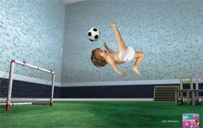 パンパースのサッカー広告