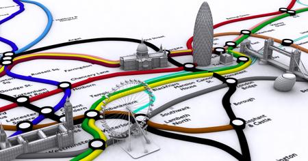 ロンドンの地下鉄路線図を3Dで表現