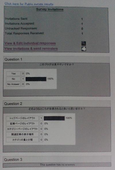 印刷したアンケート集計結果