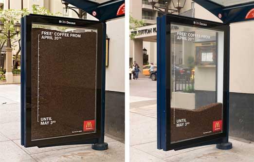 マックカフェ のおもしろバス停 広告