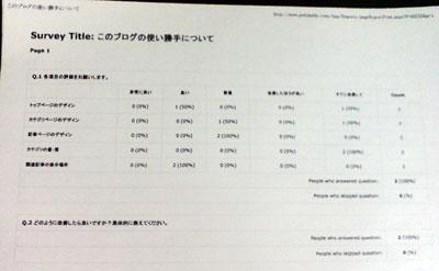 印刷したアンケート結果レポート