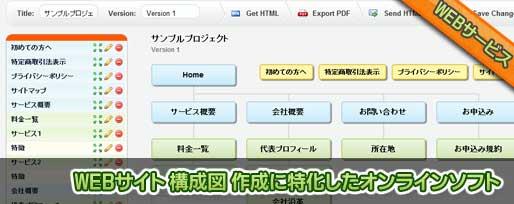 WEBサイト 構成図 作成に特化したオンラインソフト
