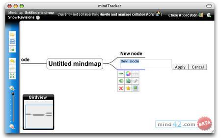 マインドマップ作成サービス「mind42.com」の画面
