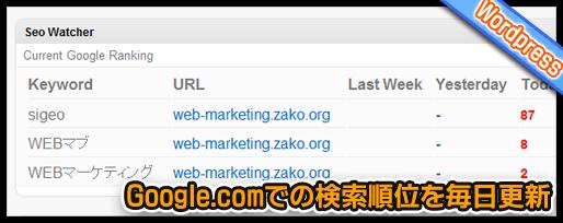 Google.comでの検索順位を毎日更新