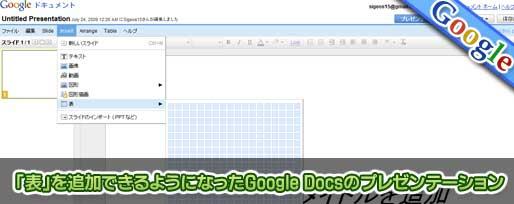 「表」を追加できるようになったGoogle Docsのプレゼンテーション