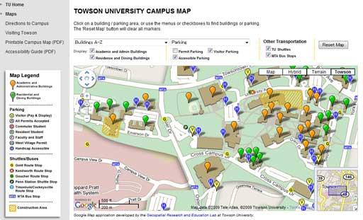 これがGoogleマップで作られたキャンパス内の案内図。施設の種別によって表示を絞り込めるのも便利です。